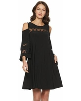 Women's Nina Leonard Lace Cold-Shoulder Shift Dress, Size: Large, Black