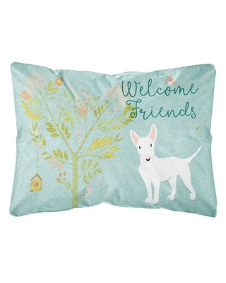Seeber Welcome Friends Bull Terrier Indoor/Outdoor Throw Pillow Winston Porter Color: White