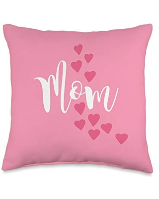 Mom Shirts by Southerngal Mom Gifts From Kids to Mommy Pretty Pink Hearts Mother's Day Throw Pillow, 16x16, Multicolor