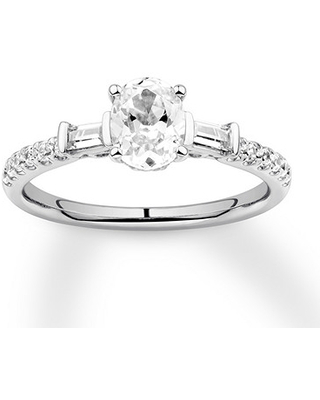 Oval-Shaped Diamond Engagement Ring 1 ct tw 14K White Gold