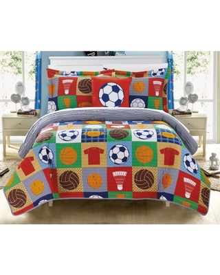 Chic Home Duetto 4 Piece Reversible Quilt Set Print Athletic Youth Design