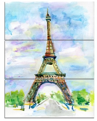 Eiffel Tower against Blue Sky - 3 Piece Painting Print on Wrapped Canvas Set Design Art