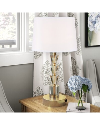 Carletta 26'' Table Lamp with Outlet Mercer41 Base Color: Brushed Brass