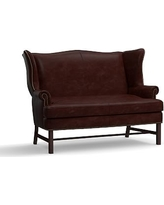 Thatcher Leather Settee, Polyester Wrapped Cushions, Signature Espresso