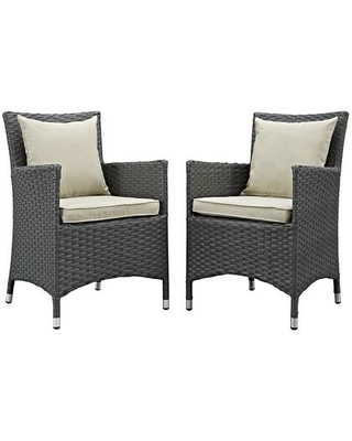 Sojourn Collection EEI-2242-CHC-BEI-SET 2-Piece Outdoor Patio Sunbrella Dining Set with 2 Armchairs Antique Canvas
