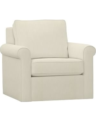 Cameron Upholstered Roll Swivel Armchair, Polyester Wrapped Cushions,  Premium Performance Basketweave Ivory