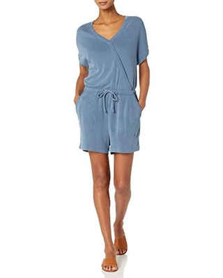 Amazon Brand - Daily Ritual Women's Sandwashed Modal Blend Short-Sleeve Overlap Romper, Washed Blue, X-Small