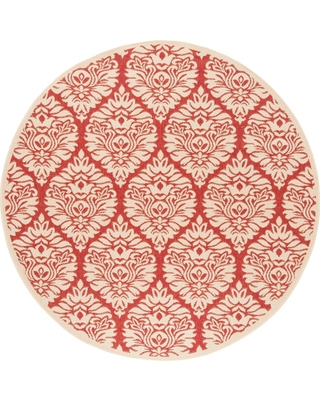 Safavieh Linden Red/Cream 6 ft. 7 in. x 6 ft. 7 in. Round Area Rug