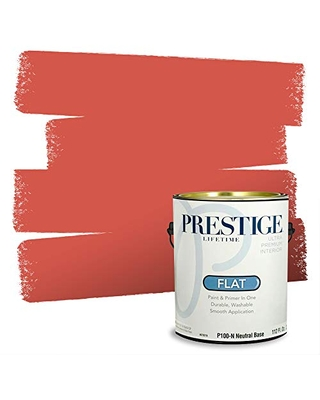 PRESTIGE Paints Interior Paint and Primer In One, 1-Gallon, Flat, Comparable Match of Benjamin Moore* Habenero Pepper*