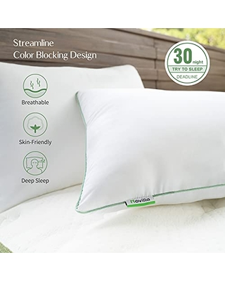 King Pillow,Novilla Bed Pillows for Sleeping 2 Pack - Premium Hotel Cooling Down Pillows with Adjustable Down Fiber and Breathable & Skin-friendly Cover, Suitable for Back and Side Sleepers