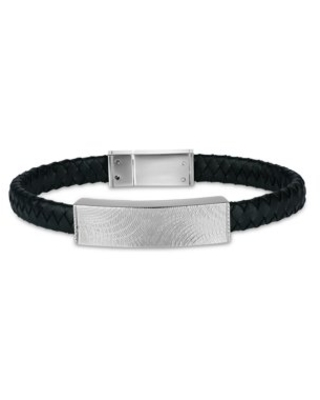 """316L Stainless Steel Polished ID Leather Braided Design Bracelet, 8.5"""""""