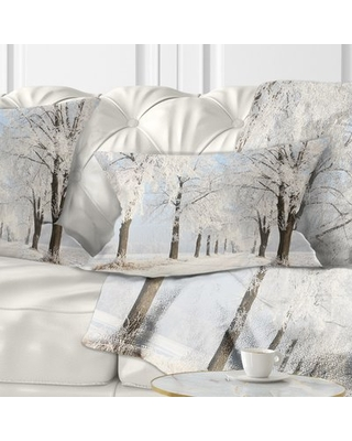 Forest Winter Lane on Sunny Morning Lumbar Pillow East Urban Home