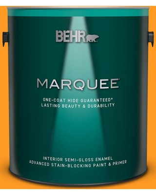 BEHR MARQUEE 1 gal. #300B-7 Goldfish Semi-Gloss Enamel Interior Paint and Primer in One