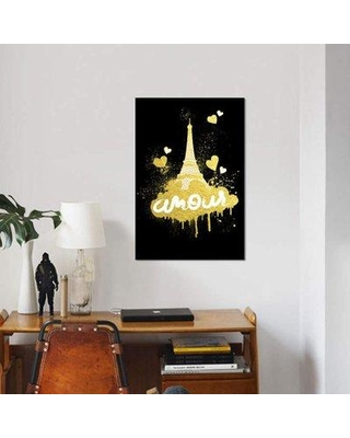 "East Urban Home 'Golden Amour I' Graphic Art Print on Canvas ETRB4638 Size: 60"" H x 40"" W x 1.5"" D"