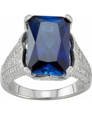 Sterling Silver Lab-Created Blue & White Sapphire Ring, Women's, Size: 9