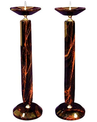 Tall obsidian candle holders | handmade from natural stone | price for pair | holiday decor | home decor