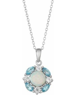 Sterling Silver Blue Topaz, Lab-Created Opal & White Sapphire Cluster Pendant Necklace, Women's, Size: 18""