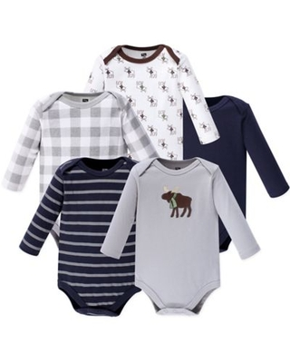 Hudson Baby® Size 9-12M 5-Pack Moose Long Sleeve Bodysuits in Grey
