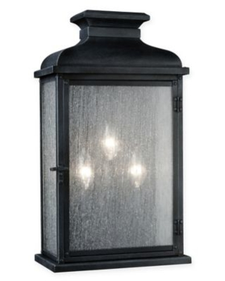 Feiss® Pediment Large 3-Light Outdoor Sconce in Zinc