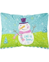 The Holiday Aisle Parnassus Christmas Snowman Let it Snow Fabric Indoor/Outdoor Throw Pillow BI148803