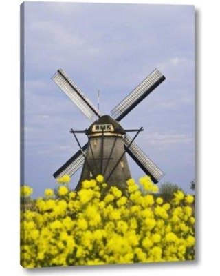 """World Menagerie 'Netherlands Kinderdijk Windmill with Flowers' Photographic Print on Wrapped Canvas BI152809 Size: 24"""" H x 16"""" W x 1.5"""" D"""