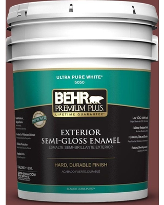 BEHR Premium Plus 5 gal. #S130-7 Cherry Cola Semi-Gloss Enamel Exterior Paint and Primer in One