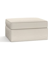 Pearce Slipcovered Storage Ottoman, Polyester Wrapped Cushions, Twill Cream