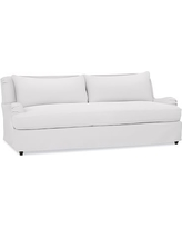 """Carlisle Slipcovered Sofa 80"""" with Bench Cushion, Polyester Wrapped Cushions, Twill White"""