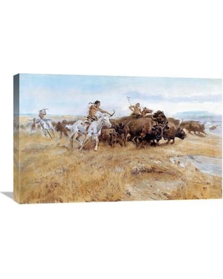 "Global Gallery 'Buffalo Hunt' by Charles M. Russell Painting Print on Wrapped Canvas GCS-279968-22-142 / GCS-279968-30-142 Size: 18.84"" H x 30"" W x 1.5"" D"