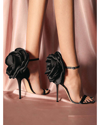 Milanoo High Heel Sandals Black PU Leather Open Toe Flowers Evening shoes Women Party Shoes