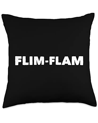 Mom Cuss Words Clothing Flim Flam Saying Con Man Word Trick Funny Novelty Statement Throw Pillow, 18x18, Multicolor