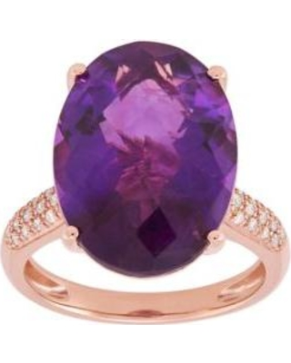 Belk & Co. Amethyst Amethyst Ring with 1/6 ct. t.w. Diamond in 10k Rose Gold