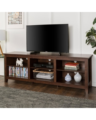 Walker Edison Furniture Company 70 In Wood Media Tv Stand Storage Console Traditional Brown