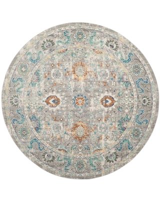 """Gray Floral Loomed Round Area Rug 6'7"""" - Safavieh, Size: 6'7"""" Round"""