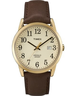 b1cbe8ea5 Men's Timex Easy Reader Watch with Leather Strap - Gold/Brown TW2P75800JT