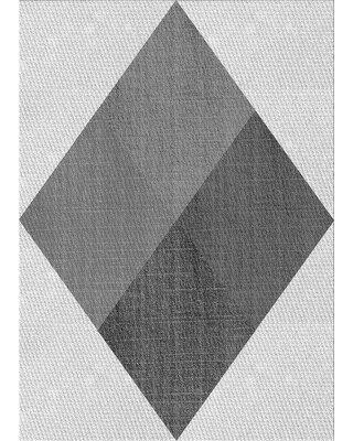 East Urban Home Whitecliff Geometric Wool Gray Area Rug X111760959 Rug Size: Rectangle 3' x 5'
