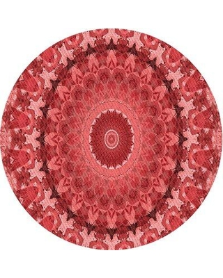 East Urban Home Padang Floral Wool Red Area Rug W000227291 Rug Size: Round 5'