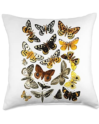 Entomology butterfly Butterflies Vintage Print Butterfly Collection Entomology Throw Pillow, 18x18, Multicolor