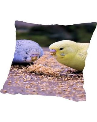 """East Urban Home Eating Budgie Bird Wildlife Throw Pillow, Cotton/Polyester/Polyfill in Yellow/Gold, Size 20"""" H x 20"""" W x 2"""" D 