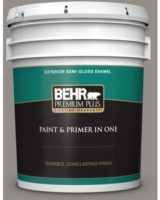 BEHR PREMIUM PLUS 5 gal. #QE-59 Water Tower Semi-Gloss Enamel Exterior Paint and Primer in One