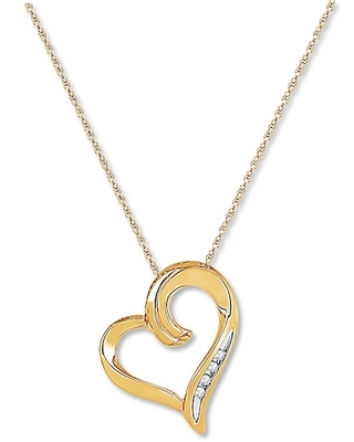 Jared The Galleria Of Jewelry Heart Necklace Diamond Accents 10K Yellow Gold