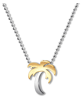 Alex Woo Necklace Fusion Palm Tree Sterling Silver/18K Gold
