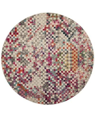 Hashtag Home Bridewell Gray/Multi Indoor Area Rug W001785054 Rug Size: Round 6'7""