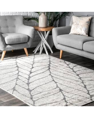 Rugs USA Light Gray Granite Abstract Leaves rug - Contemporary Square 8'
