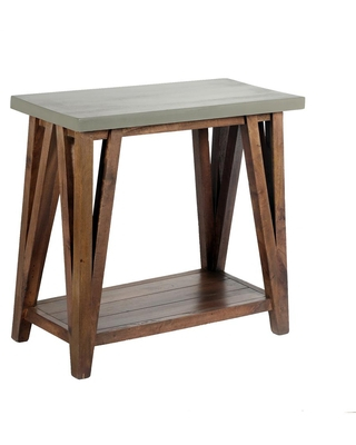 Alaterre Furniture Brookside 30 in. Light Gray/Brown Rectangle Wood Console Table with Concrete-Coating