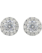 Women's Sterling Silver Round Halo Button Earring - Silver/Clear(6mm)