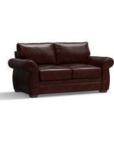 """Pearce Leather Loveseat 73"""", Down Blend Wrapped Cushions, Leather Signature Espresso"""