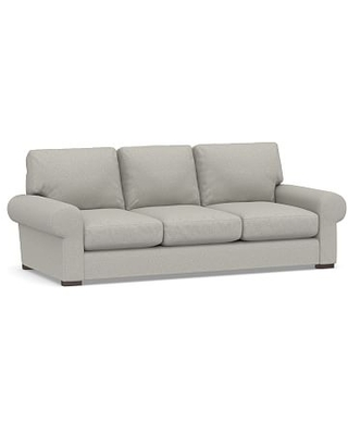 """Turner Roll Arm Upholstered Sleeper Sofa 3-Seater 90"""" with Memory Foam Mattress, Polyester Wrapped Cushions, Performance Boucle Pebble"""