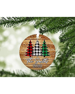 Personalized Family Christmas Ornament - Plaid Christmas Tree Keepsake Ornament - O1