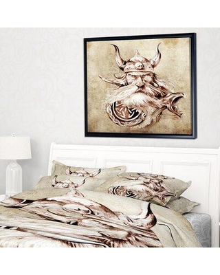 Check Out Deals On East Urban Home Viking Warrior Tattoo Sketch Framed Graphic Art Print On Wrapped Canvas Fsoi5683 Size 32 H X 42 W X 1 5 D